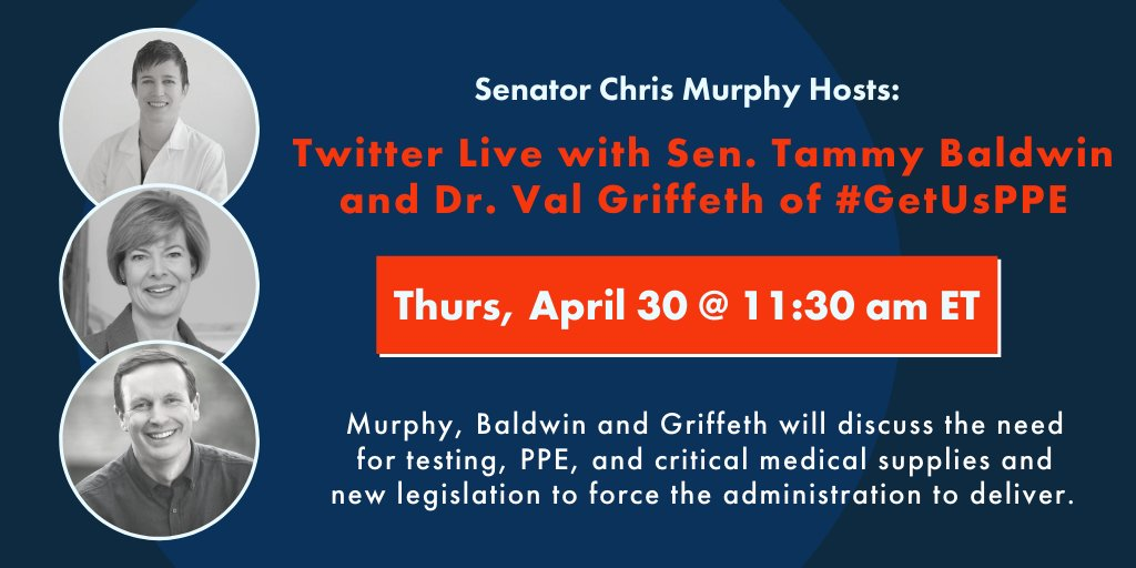 Chris Murphy On Twitter Tomorrow I Ll Be Live With Senatorbaldwin And Drvalgriffeth From Getusppe About The Need To Get Ppe And Medical Supplies To Frontline Health Care Workers And Our Legislation To