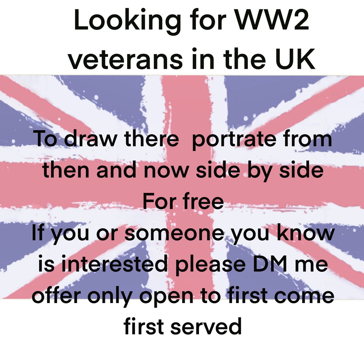 Im looking for a ww2 UK veteran to draw there portrait side by side from then and now for free  in celebration of 75years  please if you know anyone DM me who would love this as a gift me first come first served !! #portraits #veday #ww2veteran #ww2history #ww2uk #ww2art #veday75