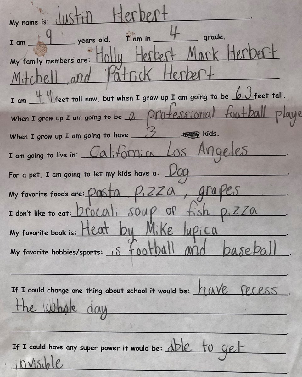 nine year old justin herbert had it all planned out