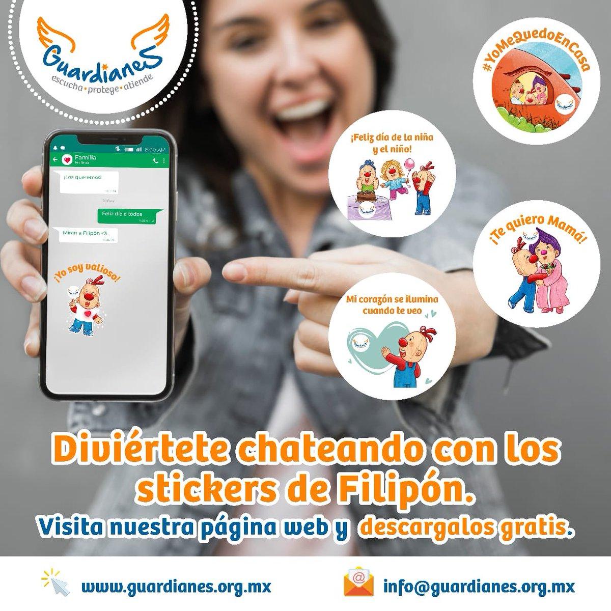 ¡#Guardianes, Filipón quiere chatear con ustedes!  ¡Descarga #gratis sus stickers en nuestra página web, en la sección #YoMeQuedoEnCasa y diviértete enviándolos a tus amigas(os)!    #todasytodossomosGuardianes  #EnCasaconFilipón