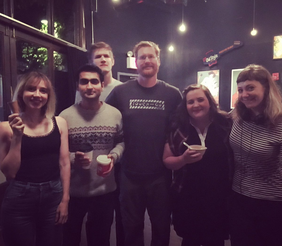 Here's all of us the night Kumail and Emily met, eating ice cream. @kumailn #watchwiththeacademy