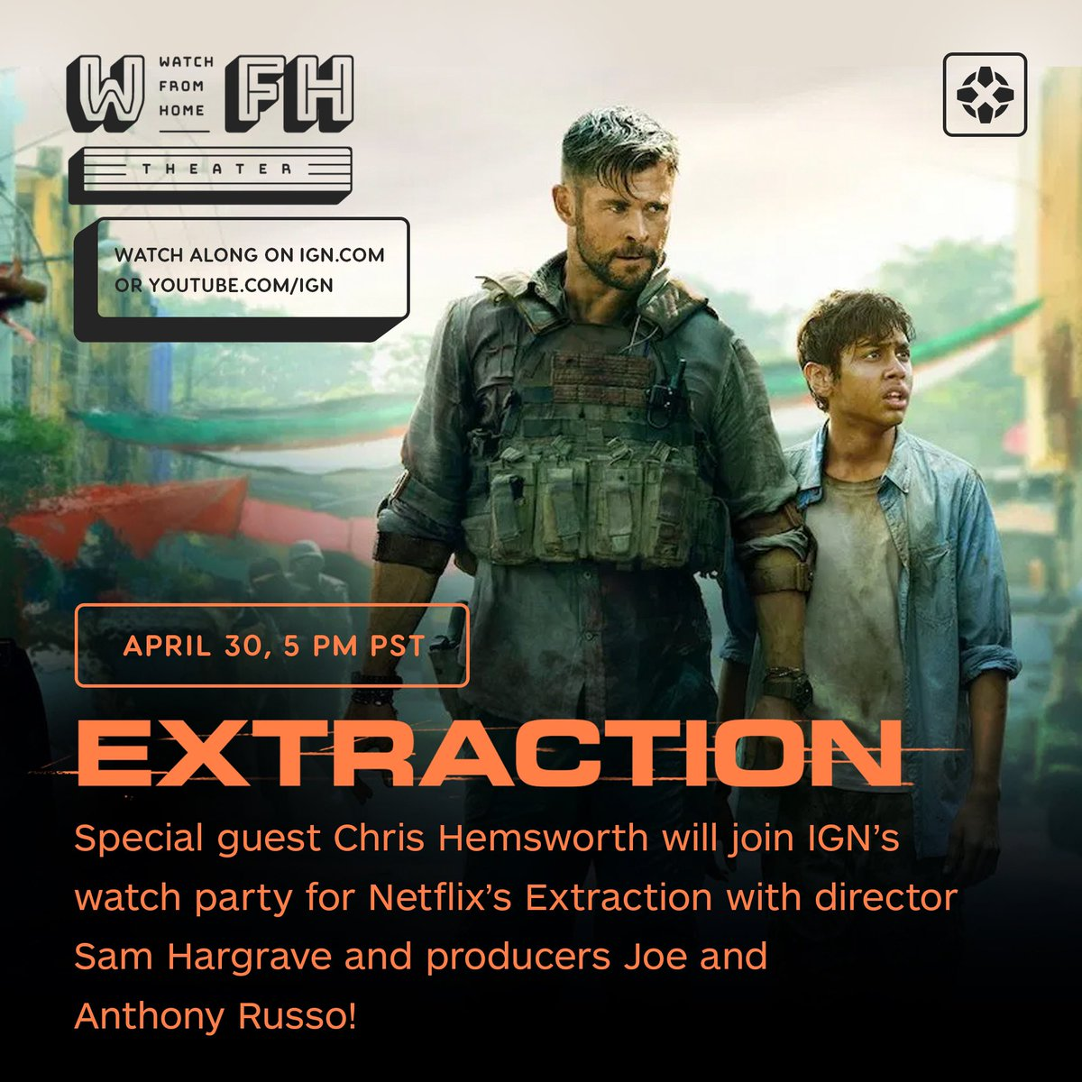 Join us tomorrow 4/30 at 5 pm pst for @IGN's Watch From Home Theatre presentation of #Extraction with special guests @chrishemsworth, the @Russo_Brothers, & director Sam Hargrave! Follow along on https://t.co/3NHvveQqgS or https://t.co/tSouqJU9PJ! https://t.co/pWhGlRdcF4