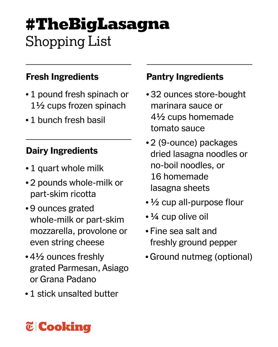 Your grocery list for Sunday's #TheBigLasagna!!!