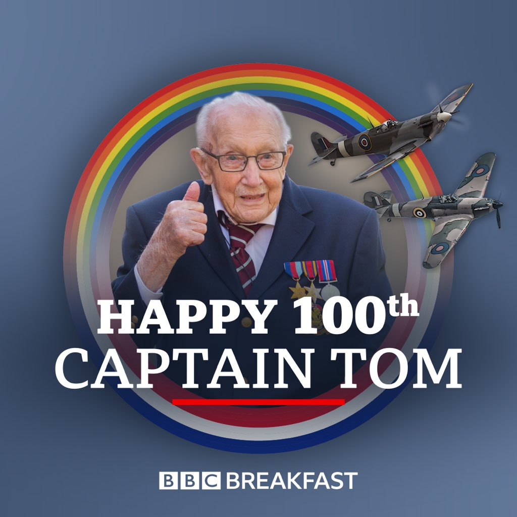 Looking forward to celebrating with @captaintommoore from on @BBCBreakfast in the morning What a brilliant man! X