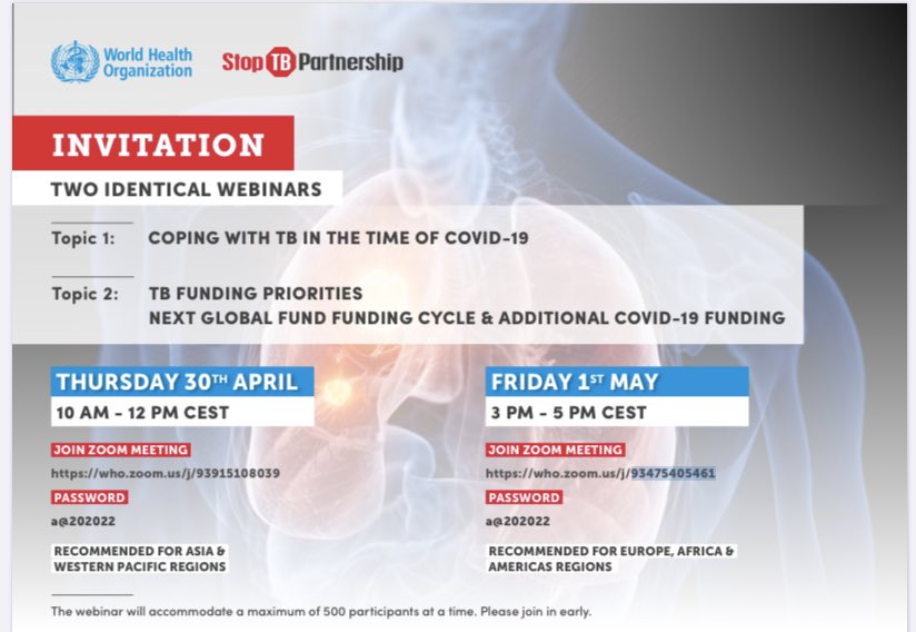 JOIN US: @WHO and @StopTB Webinars on #TB and #COVID19