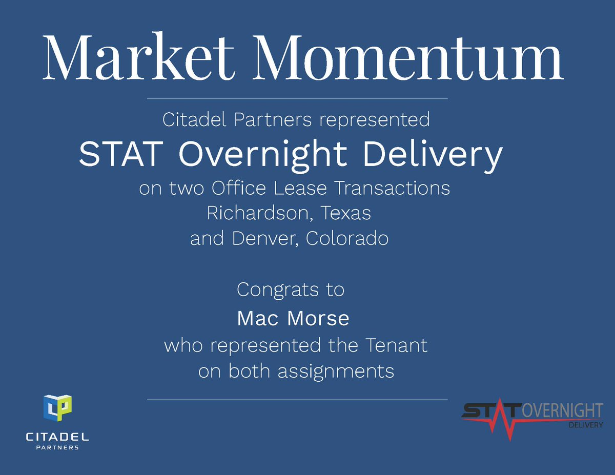 test Twitter Media - Congratulations to Mac Morse who represented STAT Overnight Delivery on two Office Lease Transactions.  #CitadelPartners https://t.co/uzRZSiJJRD