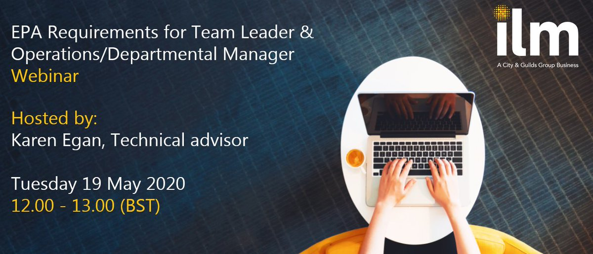 Theres still time to register for our EPA requirements for Team Leader and Operations/Departmental Manager webinar this Tuesday, 19 May 2020 12.00 (BST). Reserve your place now: ow.ly/fjMn50zG9R0