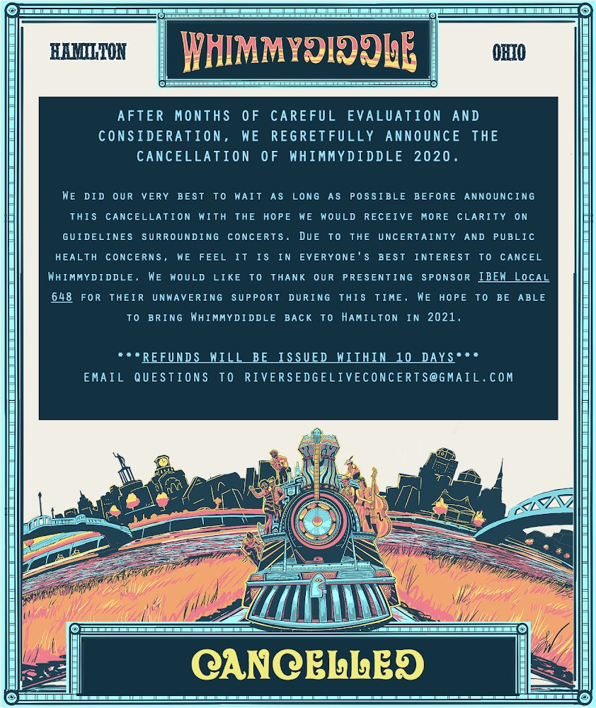 It's unfortunate to inform everyone that Whimmydiddle 2020 has been cancelled. I know you were as excited as we were. https://t.co/XbR1Jijd17