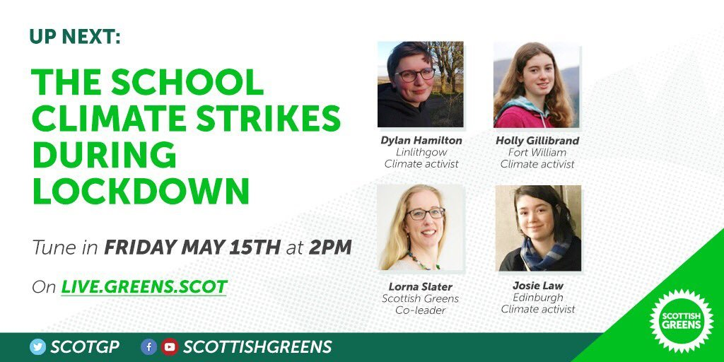Join @Lornagreens tomorrow for a live discussion on the youth climate strikes during lockdown. ⁉️ Post your questions for Lorna and her guests; Josie, Holly, and Dylan below.