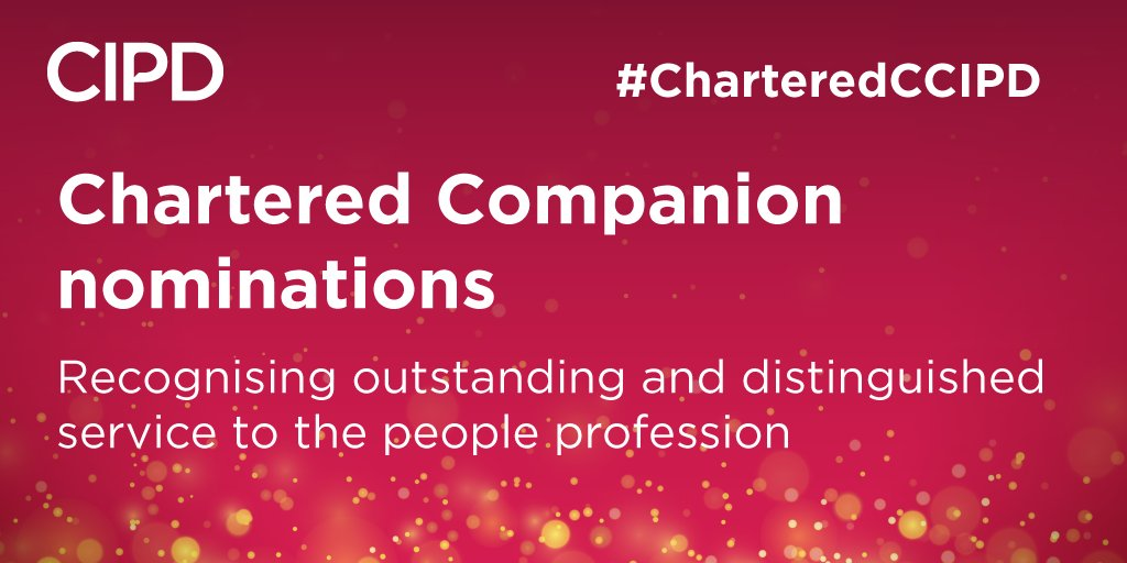 We're looking for nominations for Chartered Companions, senior HR professionals who have made an exceptional impact on the profession over their careers, find out more here. https://t.co/0DDWh1SUbP #ChateredCCIPD https://t.co/aAafAvvxtC