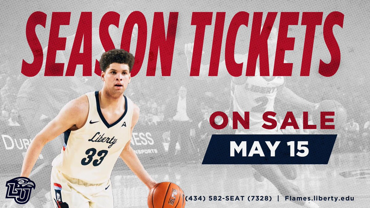 Want more information about @LibertyMBB_ season tickets? Head to https://t.co/9k1sGtIUfY!   Season tickets go on sale at 9 am tomorrow, May 15. Buy online through the site above or give us a call at (434) 582-7328. #RiseWithUs https://t.co/wE49vB14nM