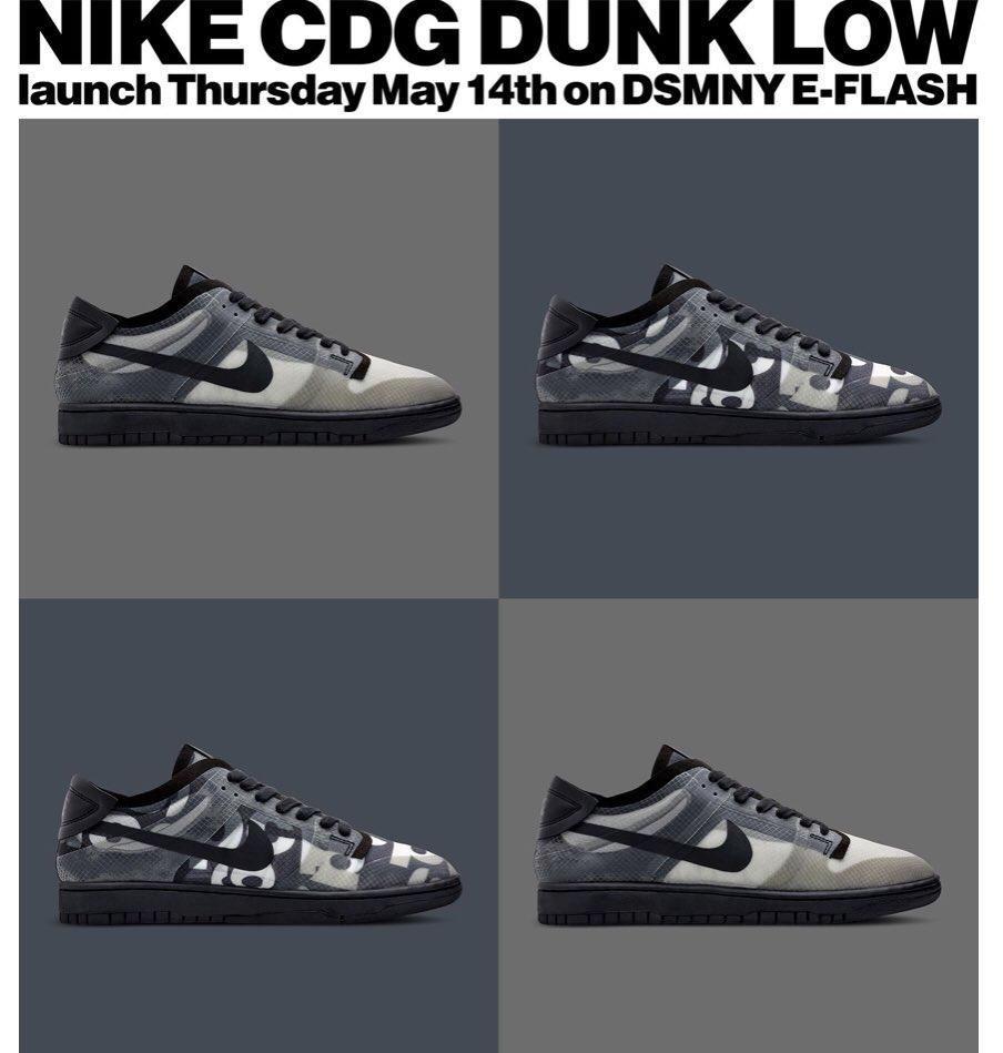 LIVE today at 8am PT/11am ET via @DSMNY: CDG x Nike Dunk Low   Black https://t.co/SauVQKNHyi Print https://t.co/iNviA5DJkc  #AD https://t.co/VytjXgOVdl
