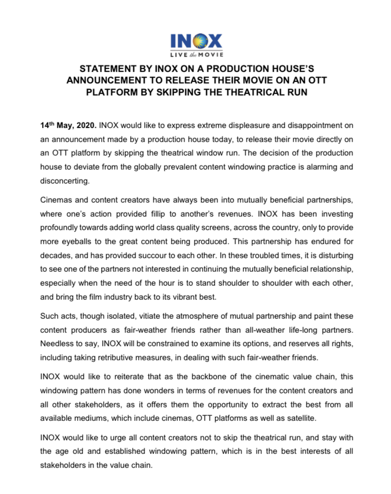 statement of Inox Cinemas