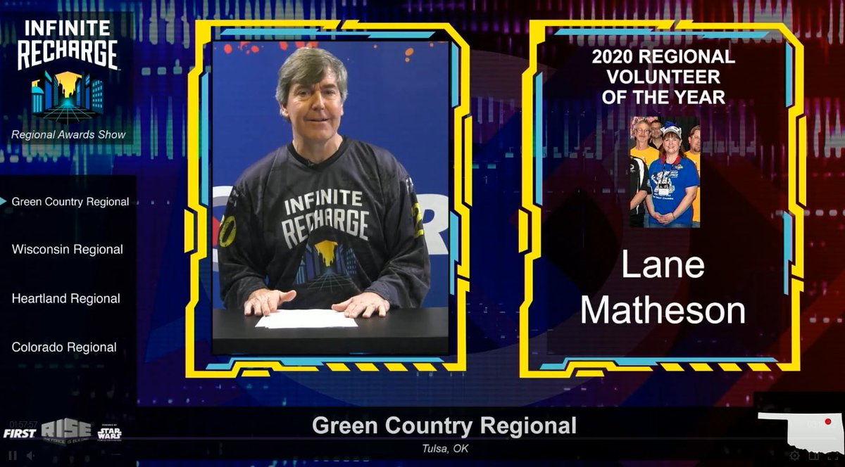 ICYMI: Shout out to our 2020 winners: Lane Matheson @FIRSTeam932 (Volunteer of the Year) Jennifer Abshagen @frc2723 (Woodie Flowers Finalist) Alexis Dixon @firstteam1939 & Braxton Johnson @FRCTeam31 (Dean's List Finalist) @SPR_6424 (Chairman's).  #FIRSTinOK #FIRSTinGreenCountry
