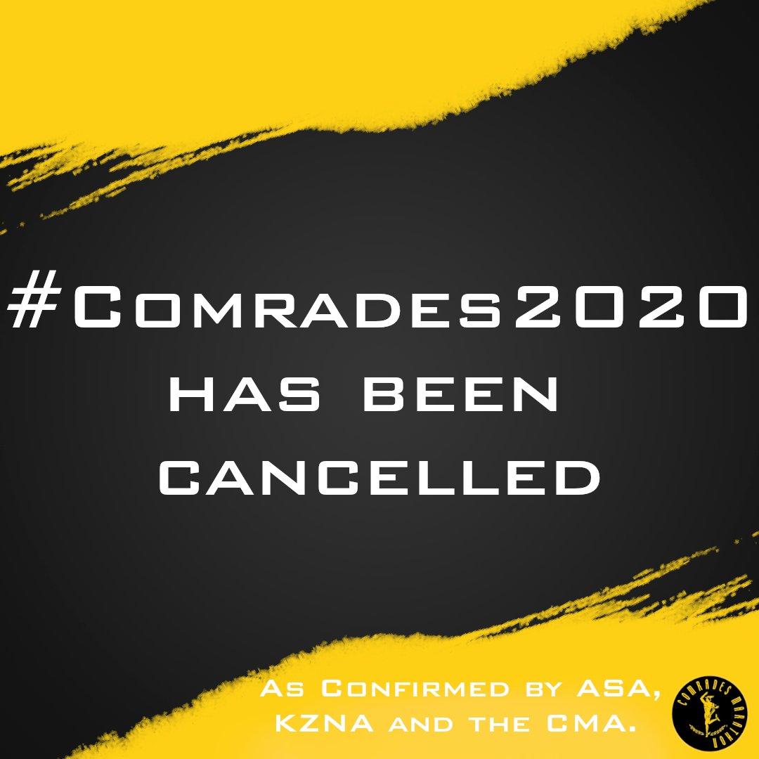 Athletics South Africa, KwaZulu-Natal Athletics and Comrades Marathon Association announce cancellation of the 2020 Comrades Marathon.