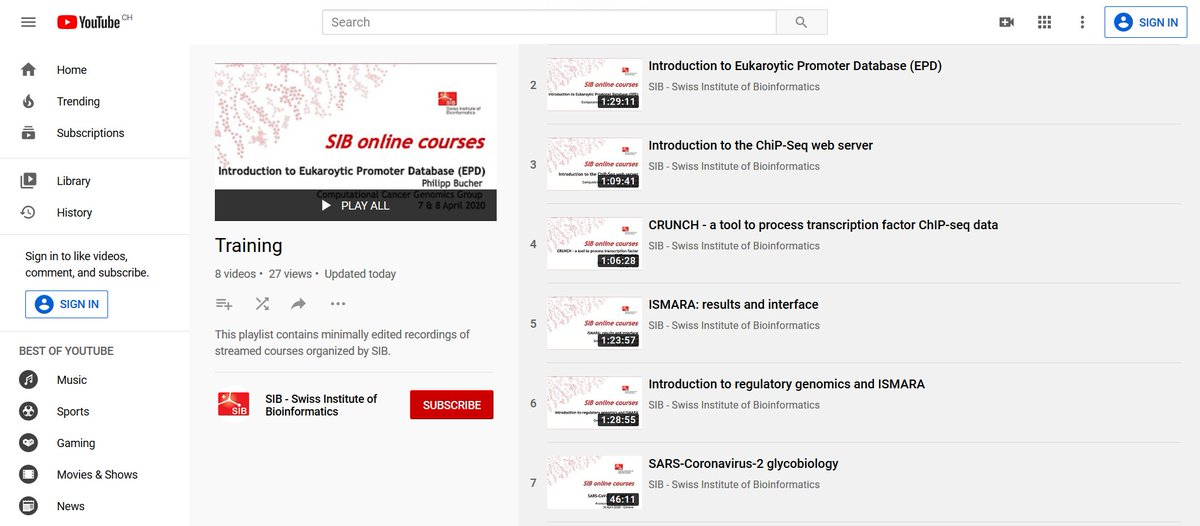 A #Training playing list was recently added to the @ISBSIB YouTube channel. You can already find there several lectures from the latest streamed courses. And more are yet to come. Have fun!  #bioinformatics #education https://t.co/gATiocbe0L https://t.co/ZgUIZ1mztX