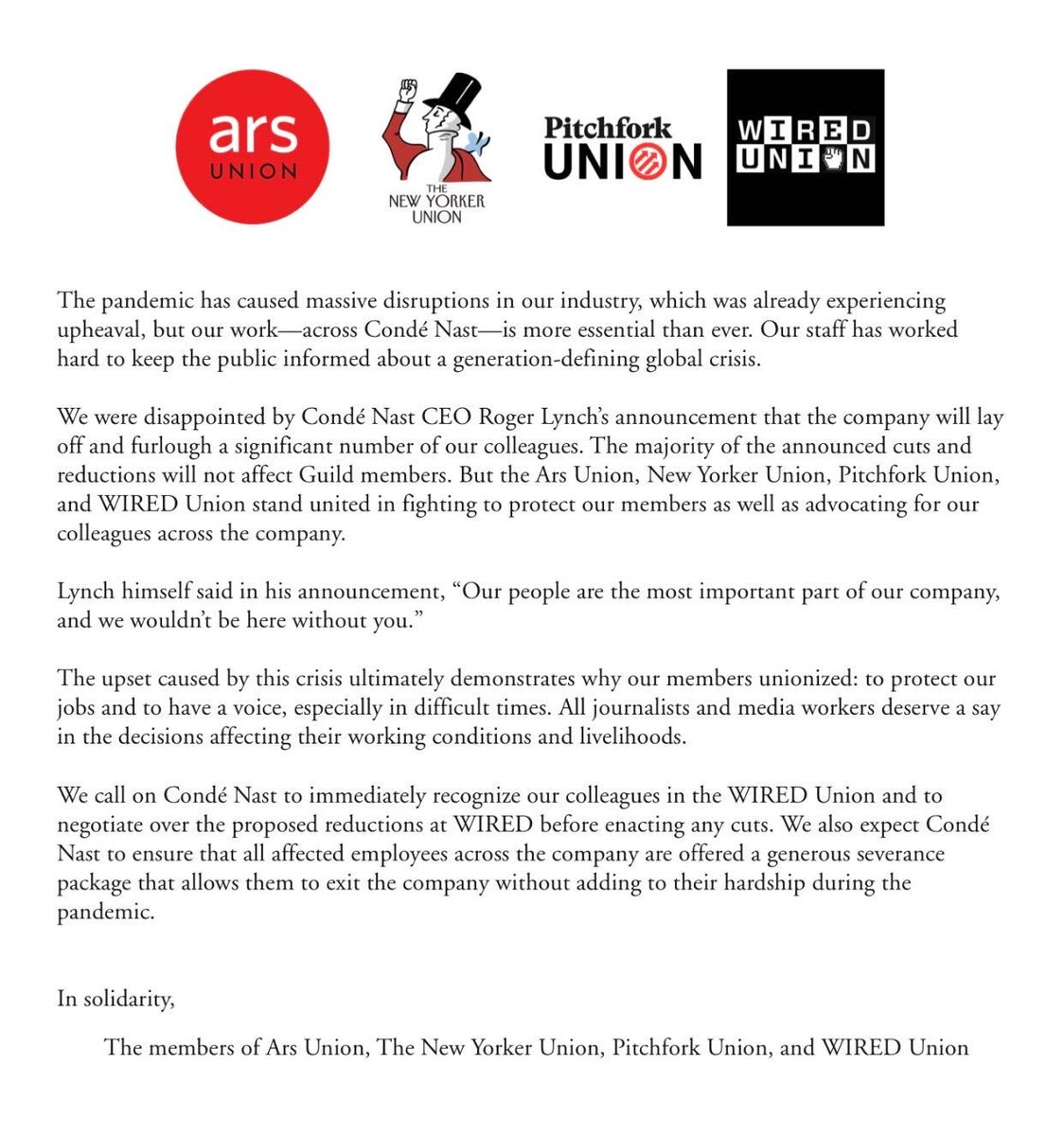 We are calling on @CondeNast and @RogerLynch to immediately recognize the WIRED Union, and negotiate over the proposed cuts that were made yesterday.