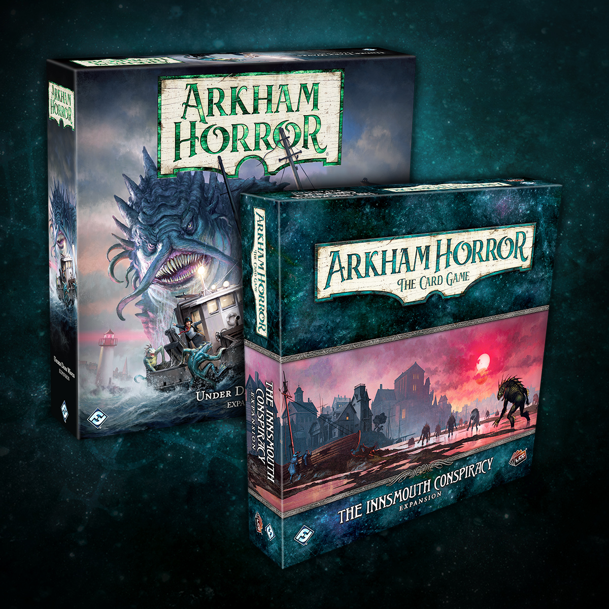 This fall, we're going to Innsmouth! With the Under Dark Waves expansion for Arkham Horror: The Board Game and The Innsmouth Conspiracy for Arkham Horror: The Card Game, it's the perfect time to visit everyone's favorite Deep One infested fishing hamlet. #ArkhamHorror #boardgame https://t.co/sjj2K0mLky