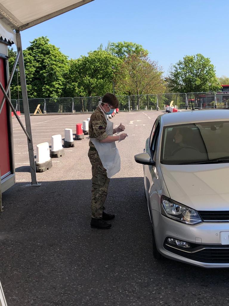 Members of @WelshGuards work alongside staff from @BootsUK to provide COVID-19 testing at a Regional Testing Centre, located at Chessington World of Adventures. The site can process approximately 200 tests per day in support of the NHS. #InThisTogether #Coronavirus