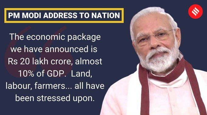 PM announces special economic package; comprehensive package of Rs 20 lakh crore