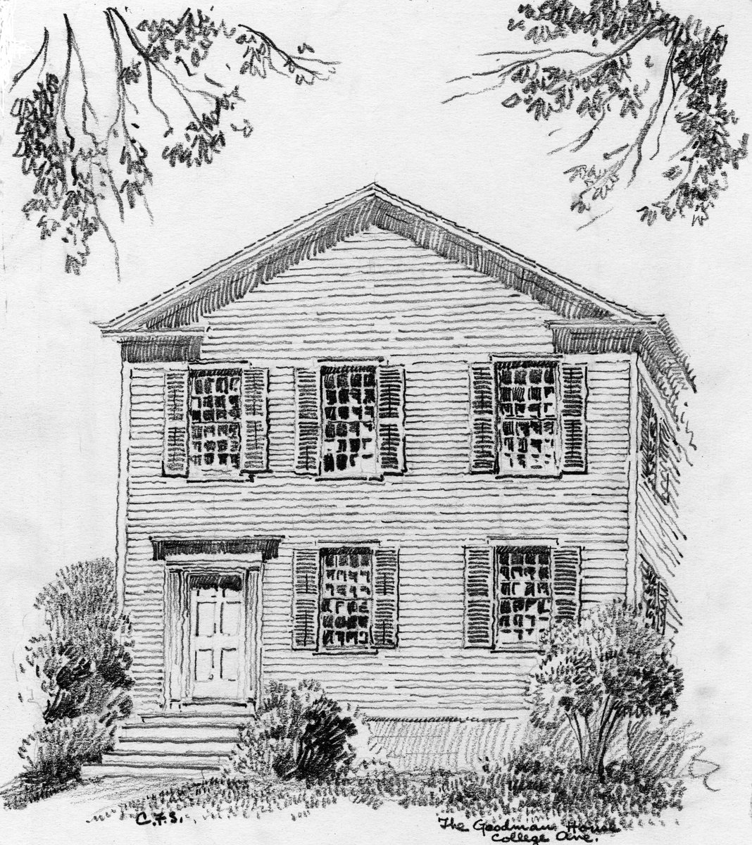 Milne has over 100 drawings of historic homes in the Genesee region, like this one of the Goodman House in Rochester, from the Carl Schmidt Collection in Historic Architecture.  We'll keep posting more from this and Milne's other special collections! https://t.co/mjHApkeIBI