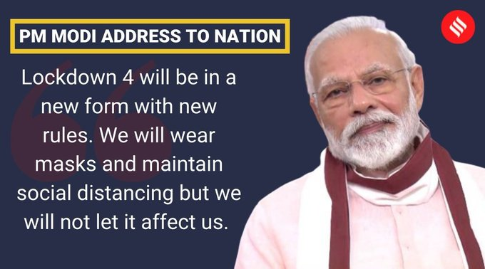 PM Modi said that #Lockdown4 will be in a new form and new rules.   IMAGES, GIF, ANIMATED GIF, WALLPAPER, STICKER FOR WHATSAPP & FACEBOOK