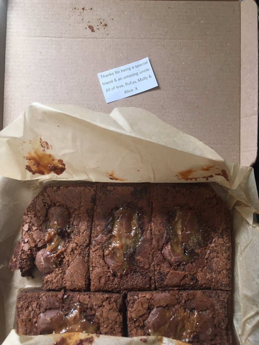 Well, holy smokes! Look at what I just got in the post from one of my very bestest friends ever - the wonderful & talented @rufusmufasa - some MASSIVE deliciously gooey choc & caramel brownies! I had to sample a corner immediately, before the thought to take a pic even occurred!