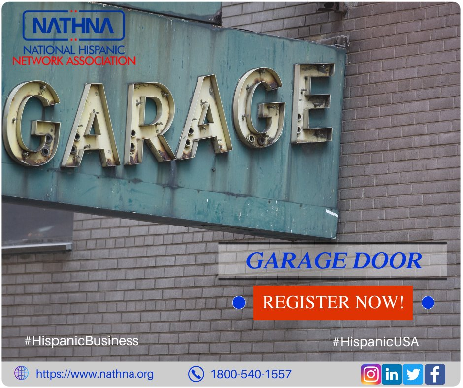 When its time to service your garage door, Search with Nathna for your repair. From track and lift cable issues to garage door opener repair, we do it all! List your business on nathna.org #HispanicUSA #Nathna #DoorRepair #garage #HispanicBusiness