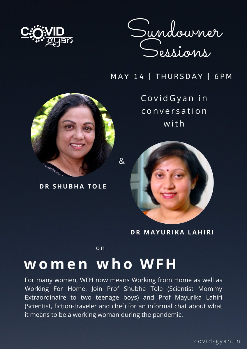 For many women, #WFH now means Work from Home as well as Work for Home. Join @shubhatole and @MayurikaLahiri as they chat about this, and share your stories at this #SundownerSession of #CovidGyan! May 14th, Thursday | 6pm Register: bit.ly/2SYSurr #webinar #COVID19