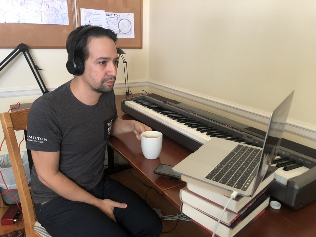 Sneaky photo of @Lin_Manuel excitedly/nervously waiting to drop this news. He woke up like a jolt of energy (more than usual) and could not keep still!