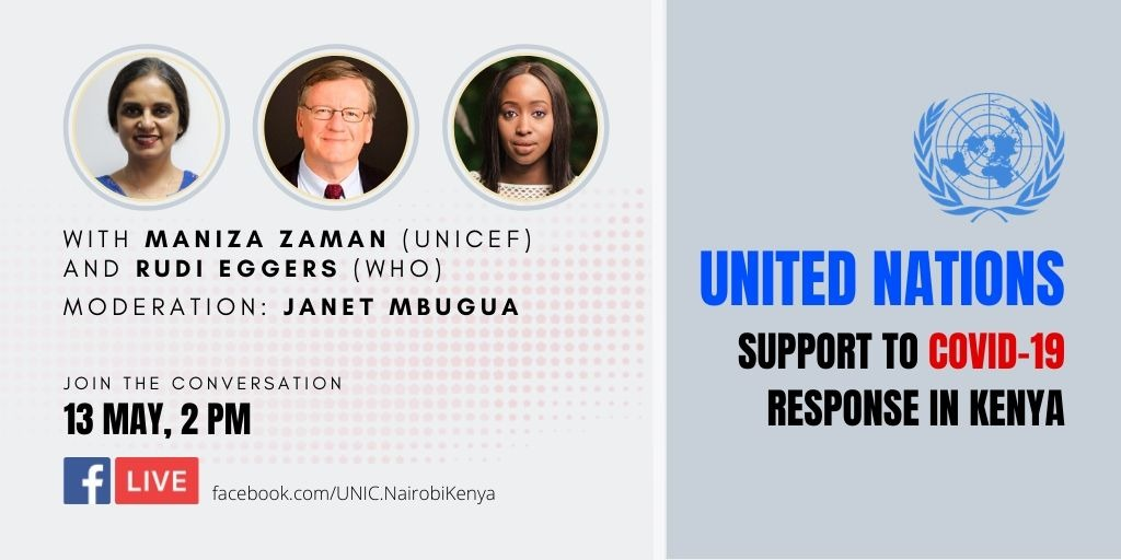 Facebook Live Alert! Do you want to know or ask a question on what the UN is doing in Response to COVID-19 & #education in Kenya? Stay tuned for the Facebook Live on Wednesday 13 May from 2 pm #KomeshaCorona