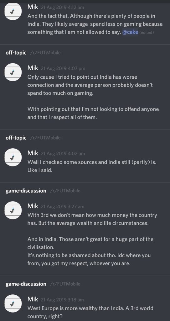 This is really unacceptable from a person who represents FM community on global fifa mobile server. It's sad to see people who pass such comments on any country are allowed to stay on fut server. Mik should apologise for this. @EASPORTSFIFA @EAFIFAMOBILE @rFUTMobile @Shablo88NZ
