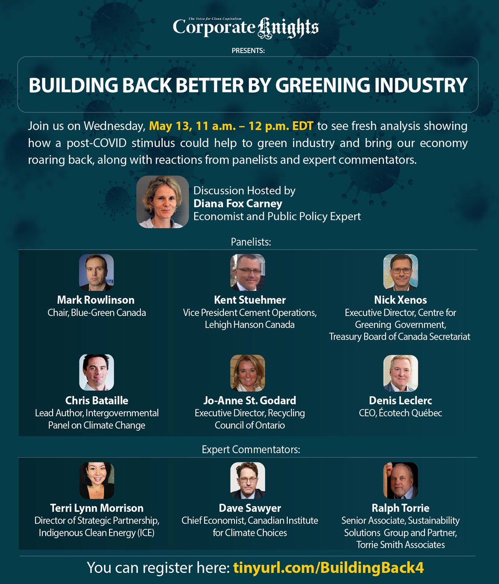 Don't forget to join us tomorrow for our fourth roundtable on #BuildingBackBetter by boosting the circular economy, electrifying light industry and decarbonizing heavy industry. Panelists from @EcotechQuebec,@RCOntario + more! Register here: https://t.co/VNCdaMSJ7J #greenrecovery https://t.co/JT1ardt3GL