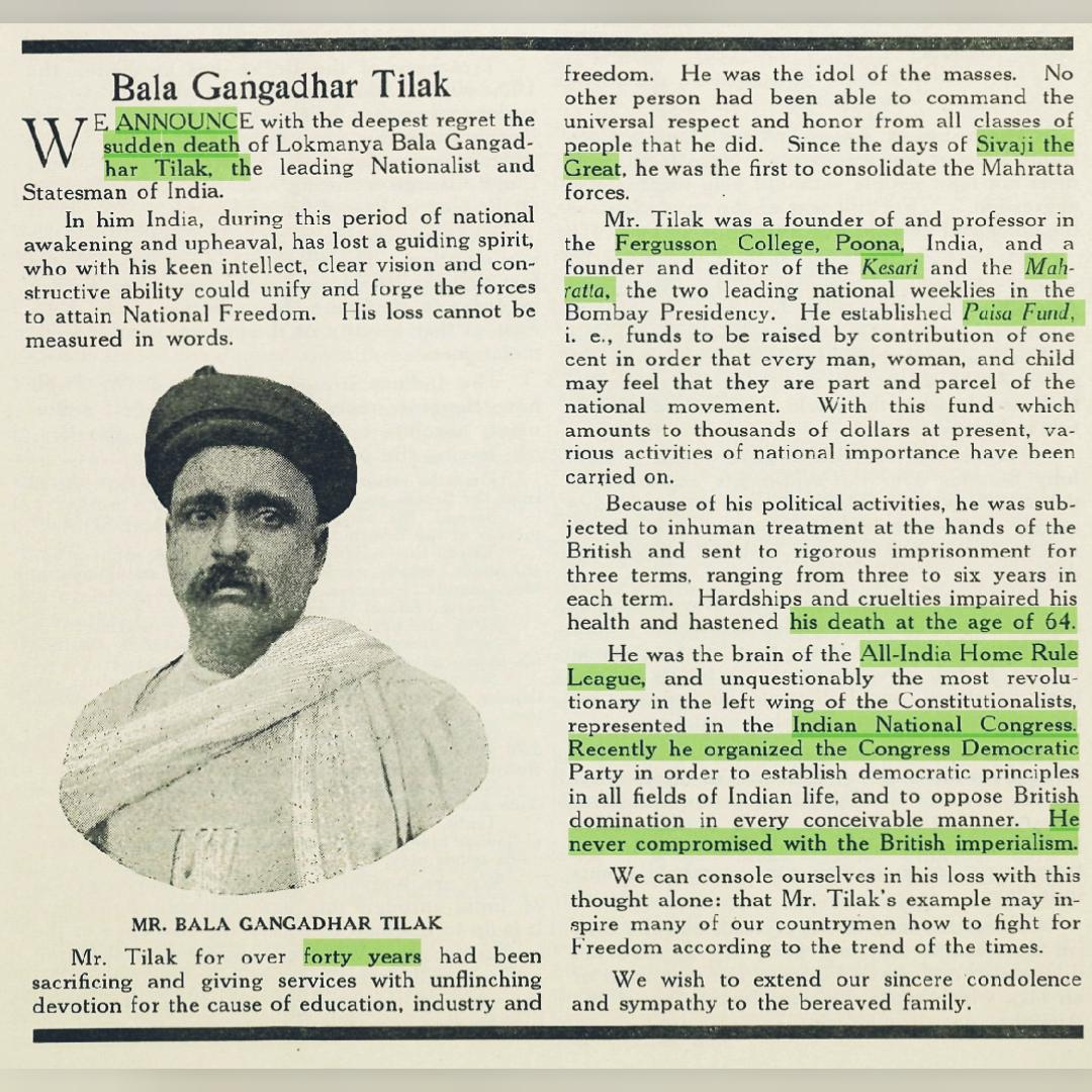 "After the deathof #BalGangadharTilak ( 1 August 1920 ), there was news in the monthly magazine ""The Independent Hindustan"" ......   #History  #BharatMatapic.twitter.com/xqpzIae0EY"