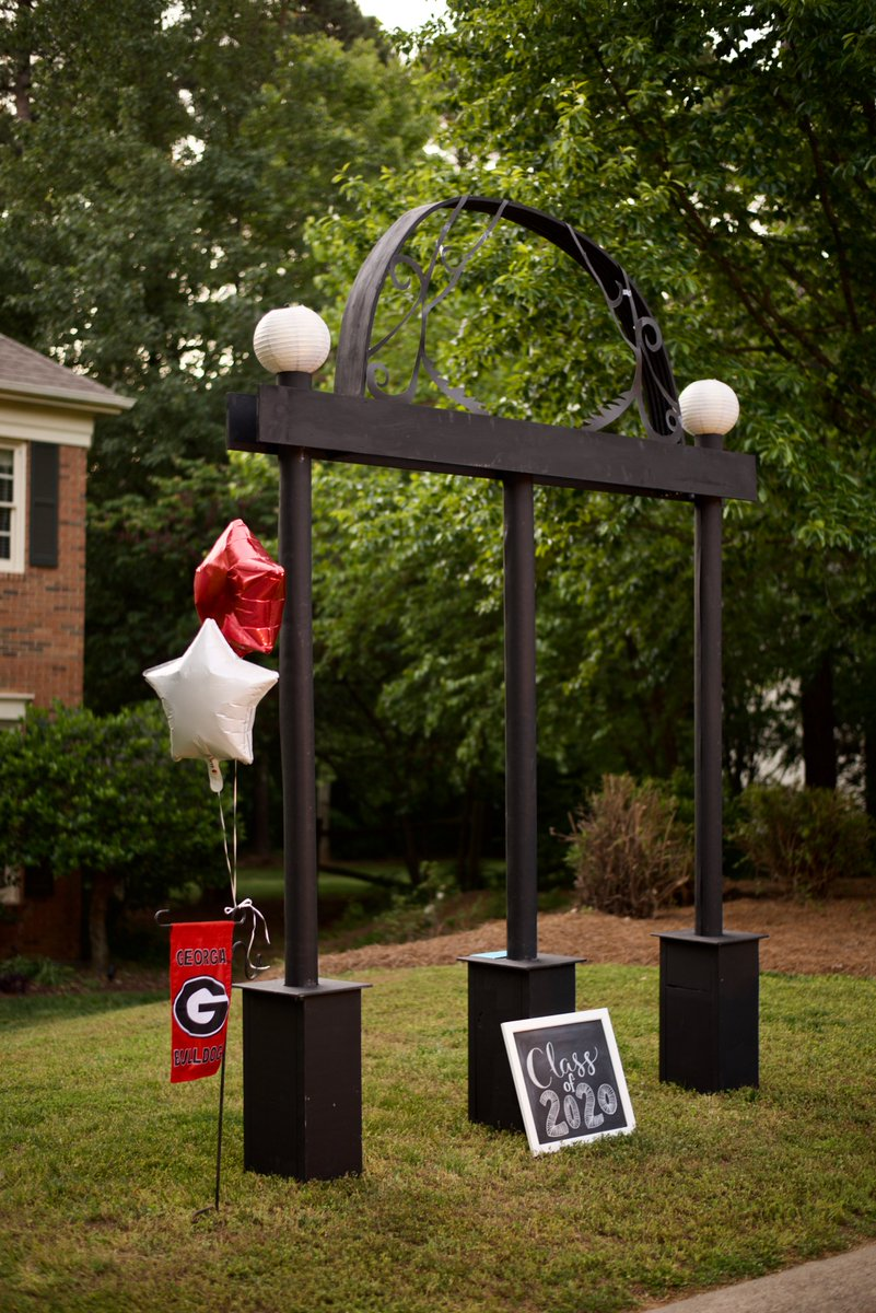 The COVID pandemic wasn't going to stop Allison Chenard from graduating in style. Using lumber, cardboard carpet rolls and more, Allison's brother built the Arch and brought Athens home to North Carolina where they celebrated with fireworks and Redcoat Band tunes. #UGAGrad #UGA20 https://t.co/bXA5jUc5hC