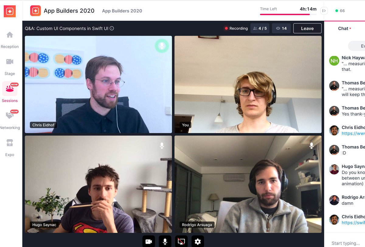 Thanks @chriseidhof, @RodrigoArsuaga and @Hugo_Saynac for a lovely Q&A session - I enjoy this part of a remote edition of @appbuilders_ch the most so far . Check out Chris's talk:  https:// youtu.be/Q75sjvk6VTA     <br>http://pic.twitter.com/g42cQQs0y0