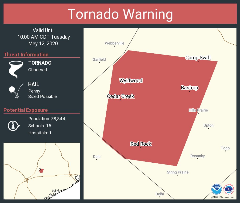 Tornado Warning including Bastrop TX, Camp Swift TX, Wyldwood TX until 10:00 AM CDT