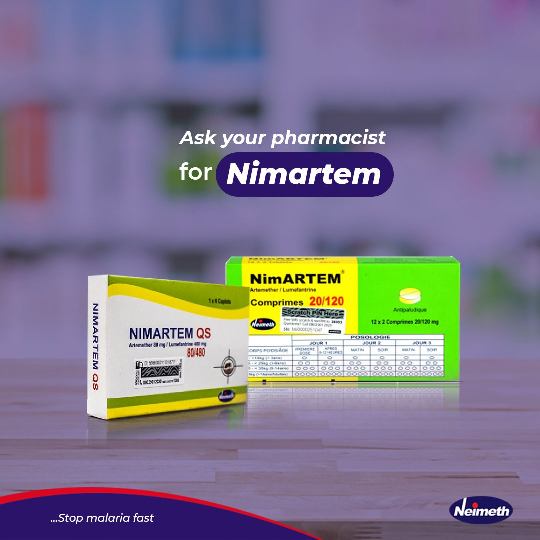 Stop treating for malaria every month. Finish your medication and stay malaria - free with Nimartem.  #Nimartem #StopMalariaFast https://t.co/rD41vTh71U