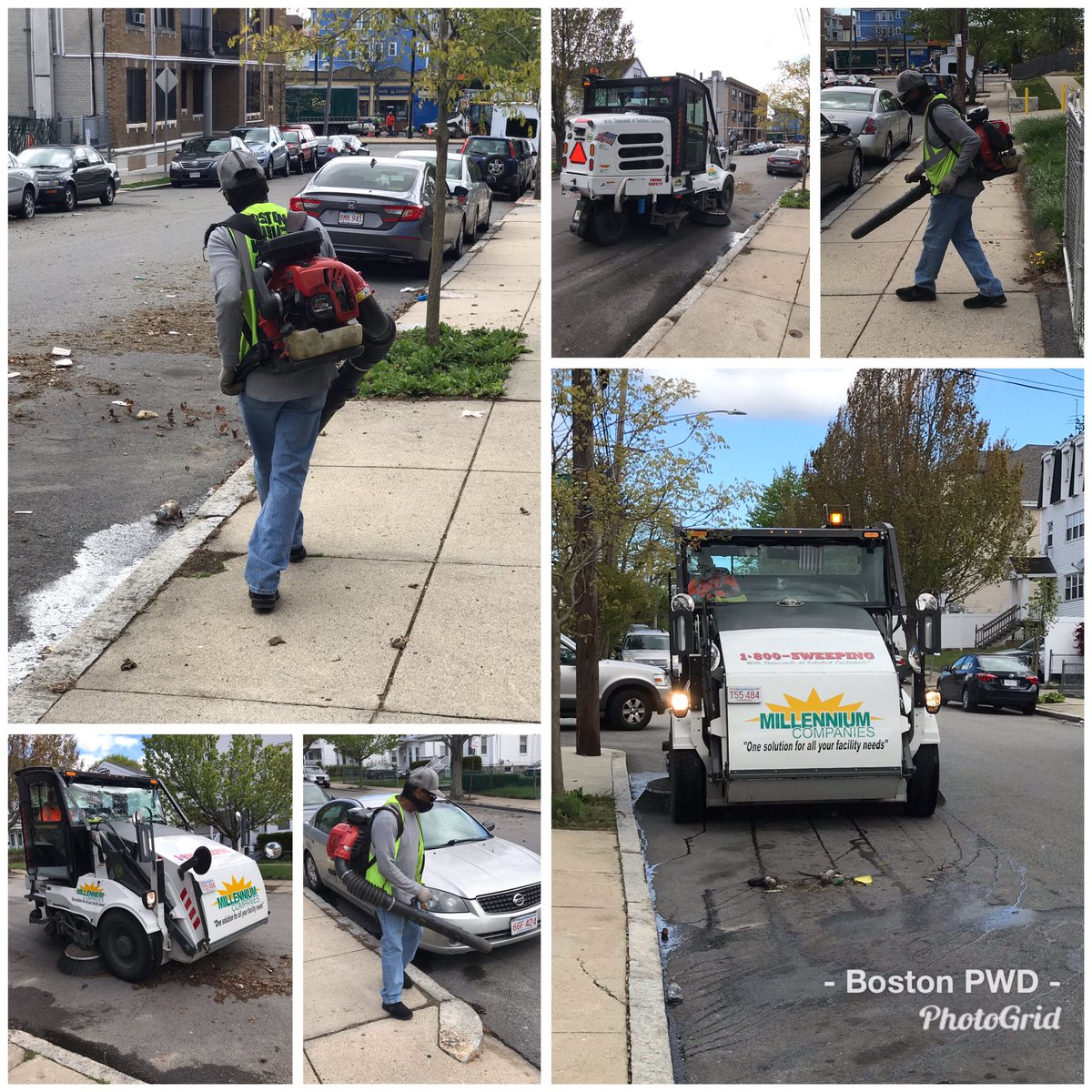 PWD's District 7 crew is busy this morning cleaning litter and debris on Hazelton St. in #Mattapan.