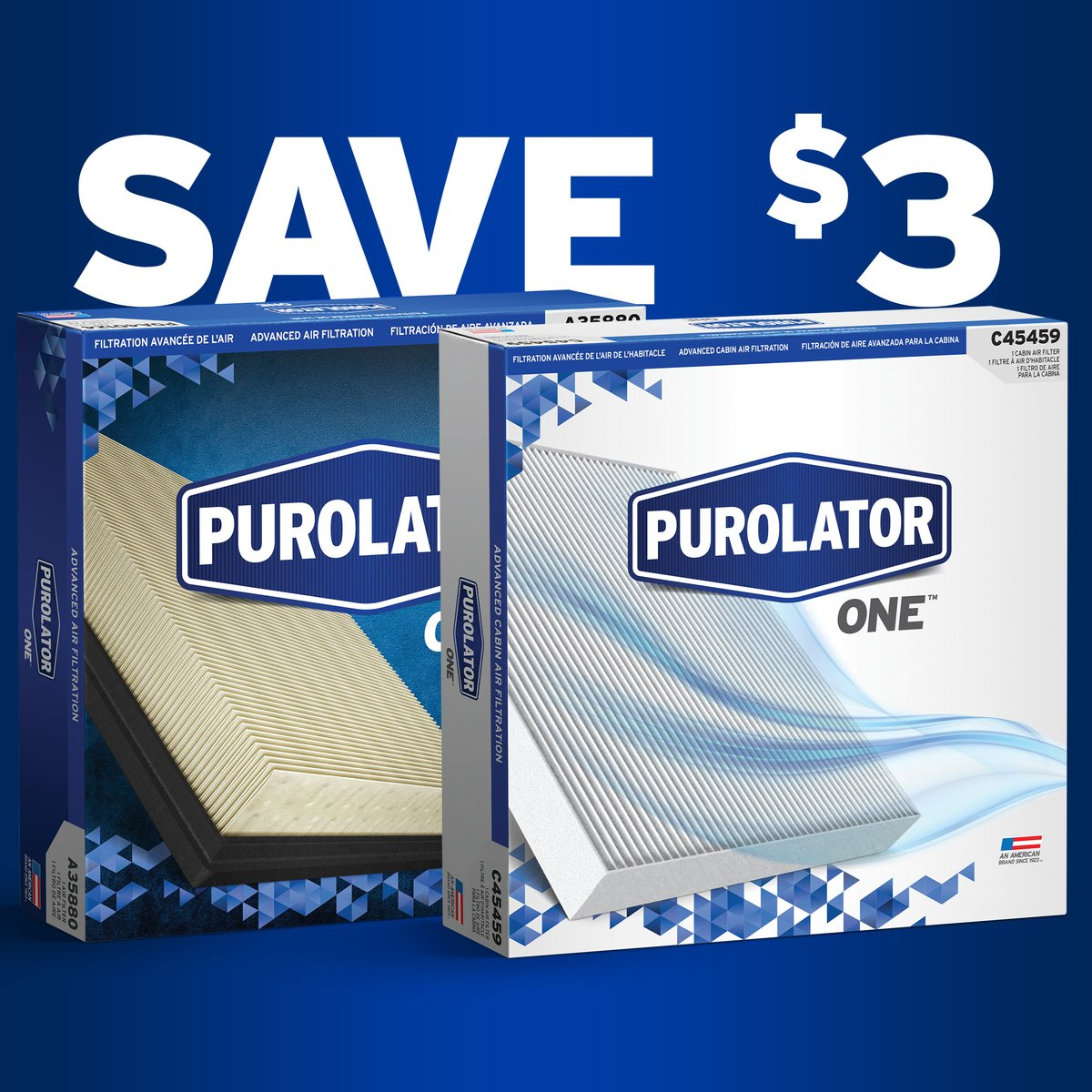 Save $3 now on PurolatorONE Air or Cabin Air Filters with any oil and oil filter bundle purchased at Advance Auto Parts. Plus 50 BONUS Speed Perks points! Click for details. https://t.co/m344AtIZO4 https://t.co/sFIDcoXOFT