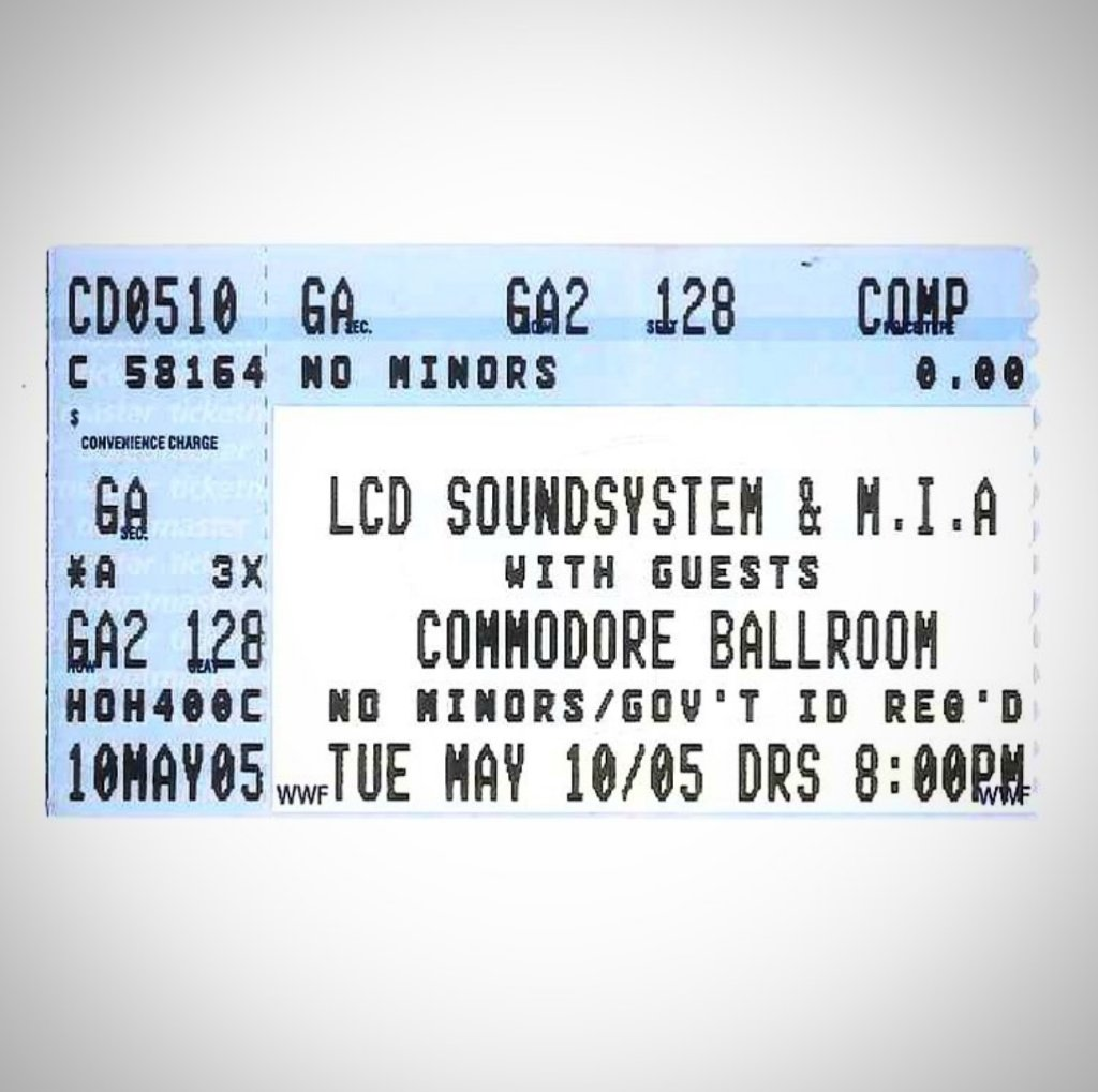 A party easily classified as 100% Certified Banger 🏆 Almost 15 years to the day with @lcdsoundsystem & @MIAuniverse for #TicketStubTuesday 🎫 Were you there? Got a stub to share? Post away and tag us #CommodoreBallroom @commodorevcr https://t.co/o80JA0XLwS
