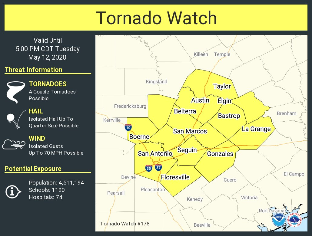 A tornado watch has been issued for parts of Texas until 5 PM CDT