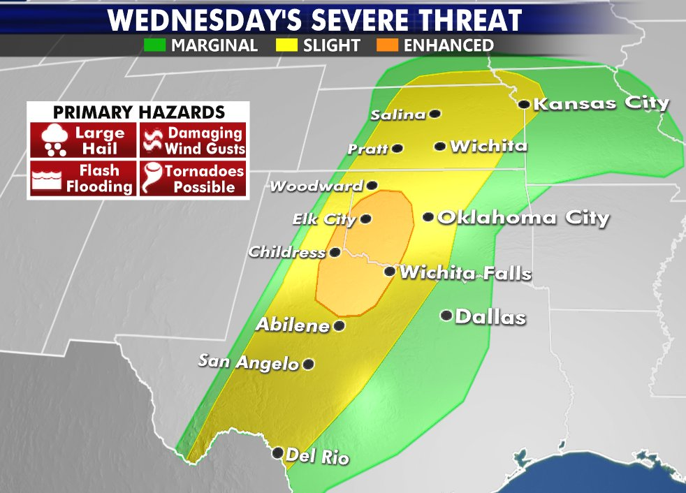 Threat for widespread severe storms returns to the Plains tomorrow. #severe #storms #tornado #weather