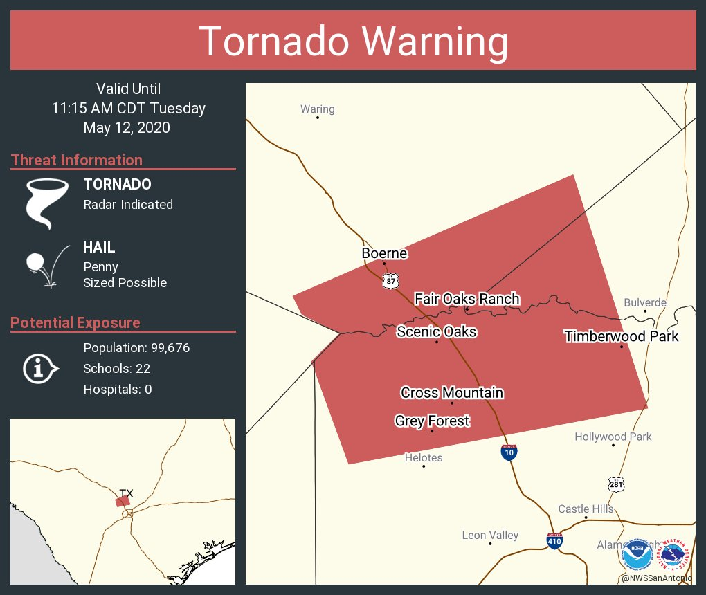 Tornado Warning including Timberwood Park TX, Boerne TX, Fair Oaks Ranch TX until 11:15 AM CDT