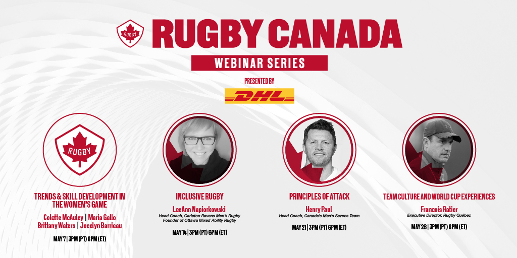 Coming at you with another webinar this THURSDAY, led by LeAnn Napiorkowski - Head Coach of Carleton Ravens Mens Rugby! Join us at 3pm PT/6pm ET for a session on Inclusive Rugby. Details and registration >> bit.ly/2QLE6C1 🏉 🍁 #RugbyCA
