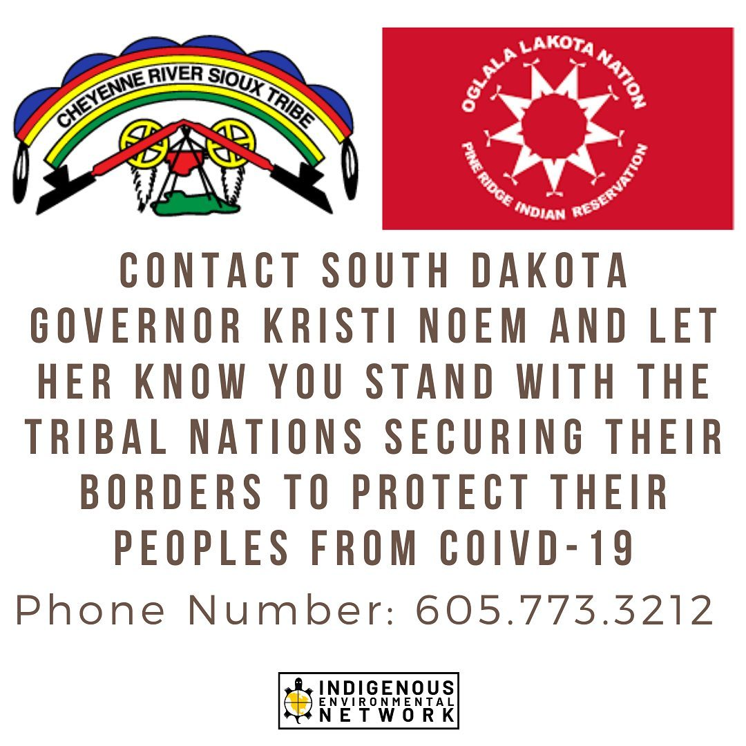 Stand with tribal nations protecting their people, contact Governor Noem and tell her you support the Cheyenne River Sioux and Oglala Lakota nations.