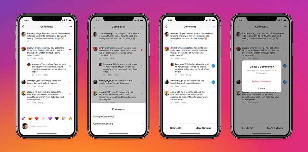 Instagram now lets people delete comments in bulk and is testing pinned comments