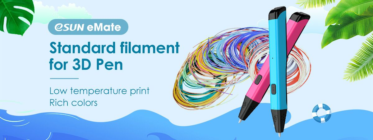 eSUN eMate, standard filament for 3D Pen!  As a low temperature filament, it solves the problem of high temperature danger, with pen point temp down to 25℃.  It can also be remoulded for many times, and applies to daily life use.   #3dpen #esun #filament