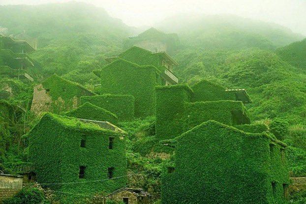 قرية مهجورة في الصين ..فعلاً الطبيعة تفرض نفسها 🌿🌿