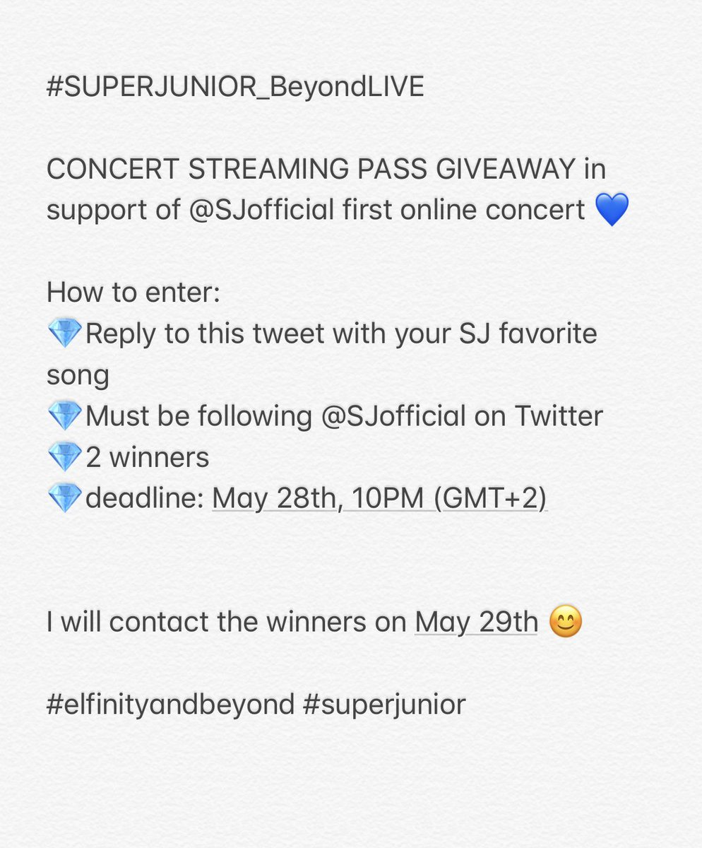 Hi ^^ in support of Super Junior first live concert i will be giving away a pass to #SUPERJUNIOR_BeyondLIVE concert on the 31st of May 😊   Details on how to join the giveaway below ⬇️ ⬇️   #SuperShowAtHome 💙 #elfinityandbeyond 💙 https://t.co/hTDeJYpdKs